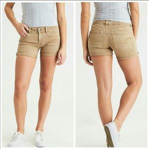 American Eagle Midi Stretch Shorts - Twill Khaki 6